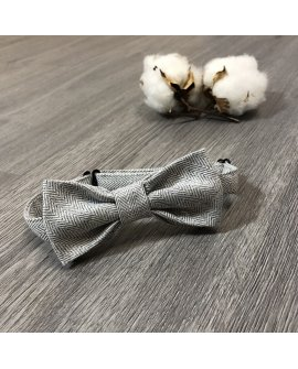 Boys Bow Tie - Grey Herringbone