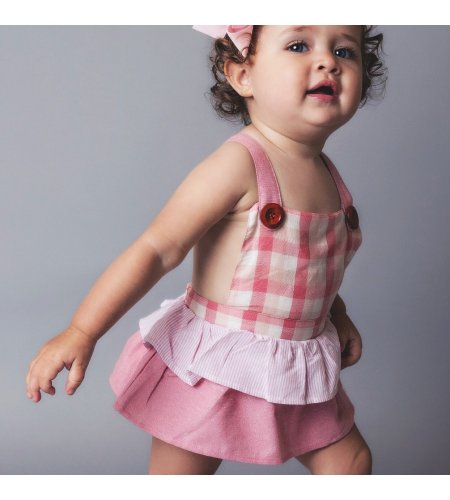 Frilly Playsuit - Pink Gingham