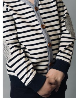 Love Henry Boys Bobby Cardigan Tee - Navy Stripe