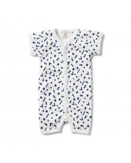 GEO PLAY SHORT SLEEVE OPEN FRONT GROWSUIT